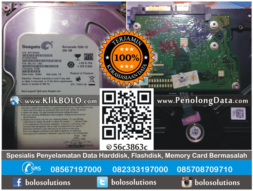 Recovery Data Harddisk Seagate 250GB Slamet Riyanto Bontang
