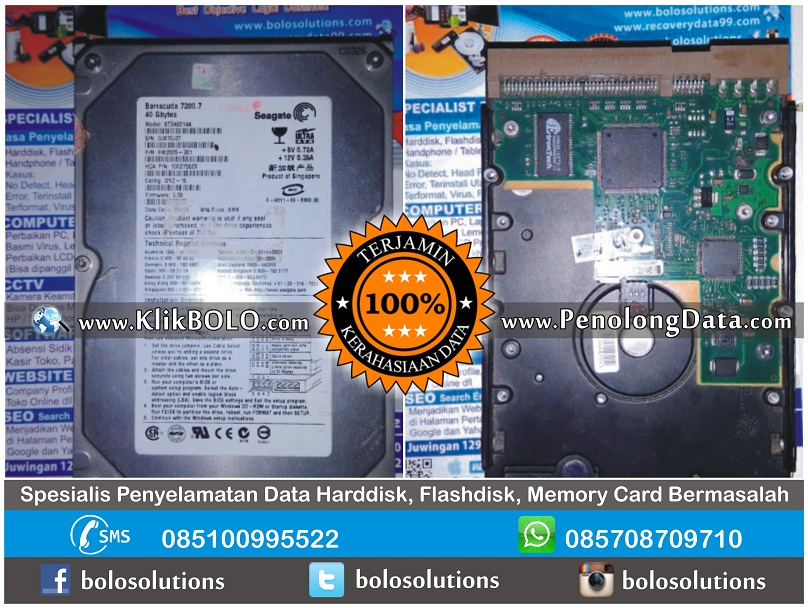 Recovery Data Seagate Berhasil | Harddisk Seagate 40GB Thomas PT Serodja Surya