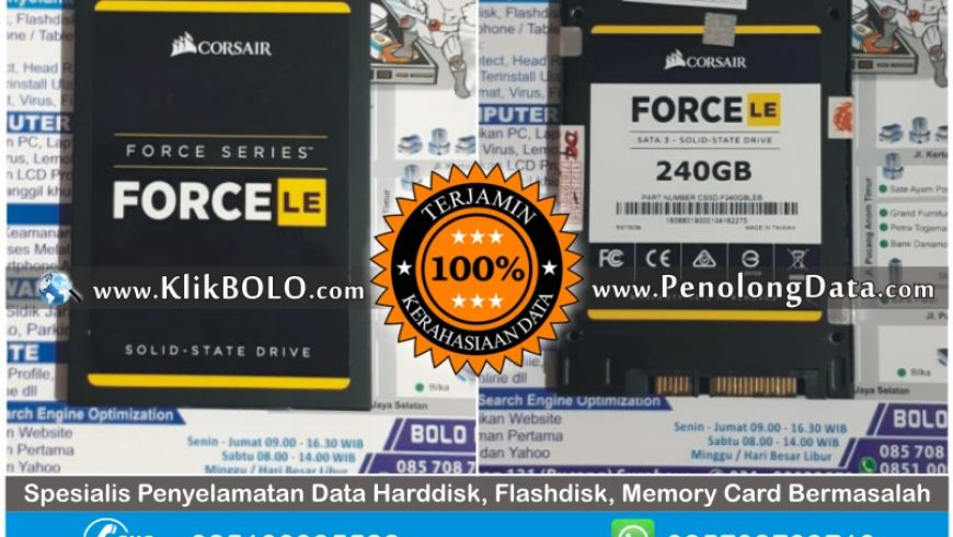 Recovery Data SSD Sukses | SSD Corsair Force 240GB Armada Arif Tenggilis