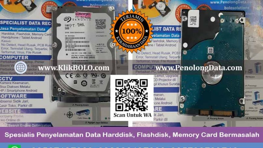 Recovery Data Seagate Laptop Thin Hdd Finish | Harddisk Seagate 500 GB, PT. DHL Surabaya, Sumaryo